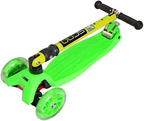 Самокат Y-SCOO 35 MAXI FIX Shine со светящимися колесами зеленый