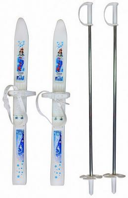 Лыжи детские RT Пингвин-Олимпик-спорт с палками, белый  0864