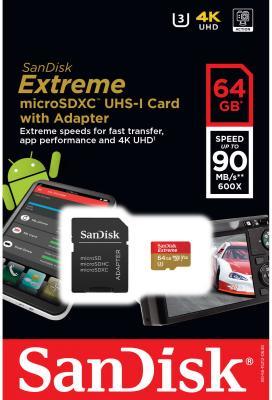 Карта памяти Micro SDXC 64Gb Class 10 Sandisk SDSQXVF-064G-GN6MA + адаптер