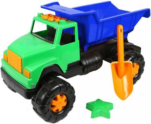 Самосвал RT Интер BIG цветной (лопата, пасочка) 58 см сине-зеленый ОР191 автомобиль rt ор184 интер big цветной лопата и пасочка синий с зеленым