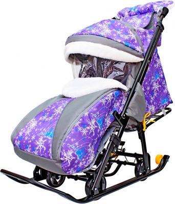 Санки-коляска R-Toys Snow Galaxy Luxe: Елки до 50 кг фиолетовый ткань искусственная кожа пластик Елки на фиолетовом на больших мягких колесах+сумка+муфта