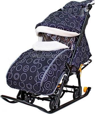 Санки-коляска Snow Galaxy LUX до 50 кг черный ткань искусственная кожа пластик Круги на черном на больших мягких колесах+сумка+муфта