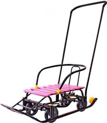 Снегомобиль Snow Galaxy Black Auto до 50 кг черный пластик металл розовые рейки на больших мягких колесах