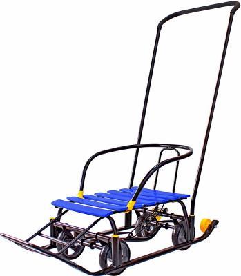 Снегомобиль Snow Galaxy Black Auto до 50 кг синий пластик металл рейки на больших мягких колесах