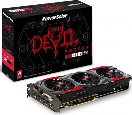 Видеокарта 8192Mb PowerColor RX 480 PCI-E DVI HDMI DPx3 HDCP AXRX 480 8GBD5-3DH/OC Retail