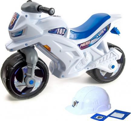 Каталка-мотоцикл RT беговел Racer RZ 1 Полиция белый со шлемом с музыкой 5 мелодий бело-синий ОР501в4