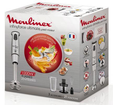 Блендер погружной Moulinex DD876D10 1100Вт серебристый блендер moulinex lm130110 стационарный белый черный