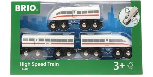 Купить Пассажирский поезд- экспресс Brio со звуком, 3 дерев.ваг., 35х3х5см, кор. 33748, Детская железная дорога