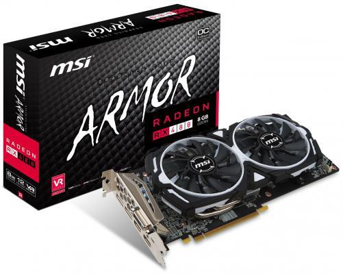 Видеокарта 8192Mb MSI RX 480 PCI-E DVI HDMI DP HDCP RX 480 ARMOR 8G OC Retail