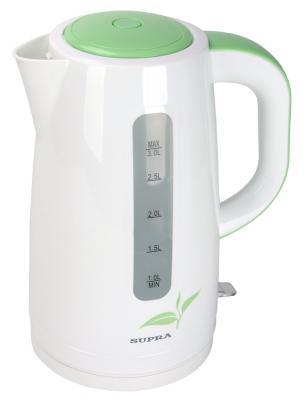 Чайник Supra KES-3012 2200 Вт белый зелёный 3 л пластик термопот supra tps 3016 730 вт 4 2 л металл серебристый