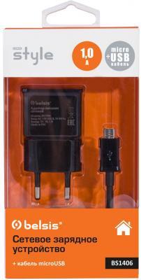 Сетевое зарядное устройство Bliss BS1406 microUSB 1A черный сетевое зарядное устройство oxion aca 006 microusb 2 1a черный
