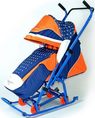 Санки-коляска RT СКОЛЬЗЯШКИ Мозаика до 45 кг синий оранжевый белый пластик металл ткань 0913-Р14 санки санки снегокаты rt торнадо 1 до 50 кг пластик белый серый