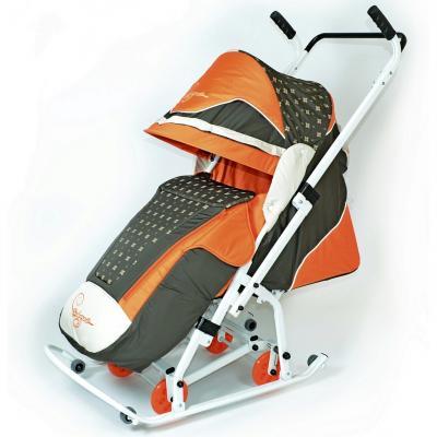 Санки-коляска RT СКОЛЬЗЯШКИ Мозаика до 45 кг оранжевый бежевый оливковый пластик металл ткань 0936-Р14 скользяшки 0915 р14