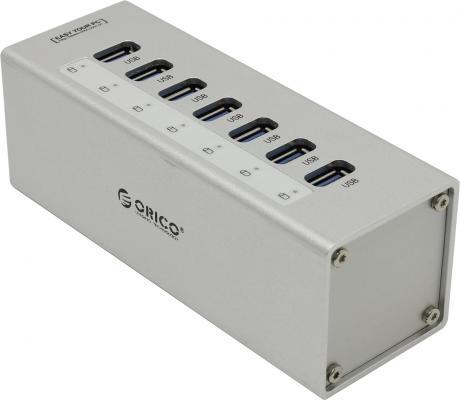 Концентратор USB Orico A3H7-SV 7 портов USB 3.0 серебристый