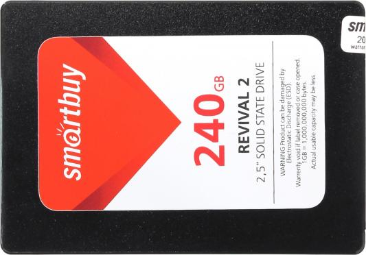 Твердотельный накопитель SSD 2.5 240GB Smartbuy Revival 2 Read 525Mb/s Write 500Mb/s SATA SB240GB-RVVL2-25SAT3 твердотельный накопитель ssd 2 5 240gb smartbuy revival 3 sata3 550 450mbs 3d tlc ps3111 s11 7mm sb240gb rvvl3 25sat3