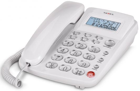 Телефон проводной Texet TX-250 белый проводной телефон texet тх 219 grey
