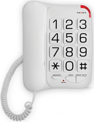 Телефон проводной Texet TX-201 белый проводной телефон texet тх 219 grey