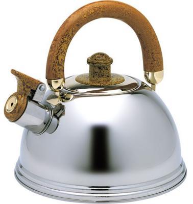 Чайник Wellberg WB-6078 серебристый коричневый 2.25 л нержавеющая сталь