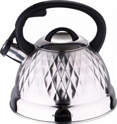 Чайник Wellberg WB-6235 серебристый чёрный 2.6 л нержавеющая сталь