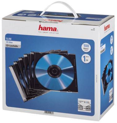 Коробка HAMA для 100 CD/DVD прозрачный 100шт H-51270 конверты hama для 2 cd dvd с перфорацией для портмоне с кольцами белый прозрачный 100шт h 62611