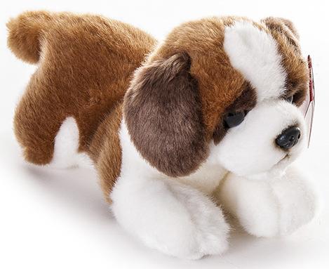 Мягкая игрушка щенок Aurora Сенбернар плюш коричневый 22 см