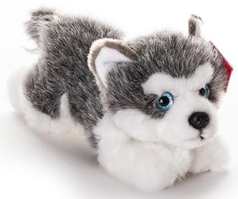 Мягкая игрушка щенок Aurora Лайка плюш текстиль серый 22 см