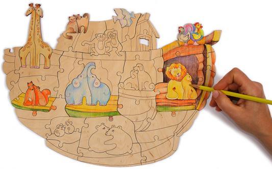 Пазл WOODY Ноев ковчег 50 элементов woody деревянный пазл ноев ковчег 50 деталей
