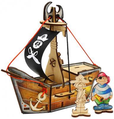 """Деревянный конструктор WOODY """"Пиратский корабль """"Карамба"""" 28 элементов"""