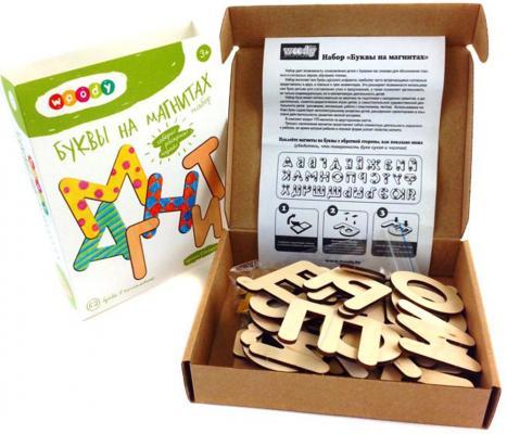 Деревянный конструктор WOODY Буквы на магнитах 52 элемента