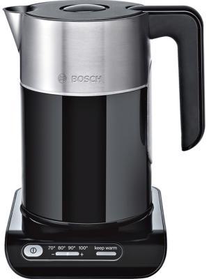 Чайник Bosch TWK8613P 2400 Вт чёрный металлик 1.5 л металл/пластик чайник bosch twk861p3ru 2400 вт 1 5 л металл пластик чёрный