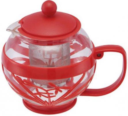 Чайник заварочный Wellberg WB-361 красный 0.8 л пластик/стекло