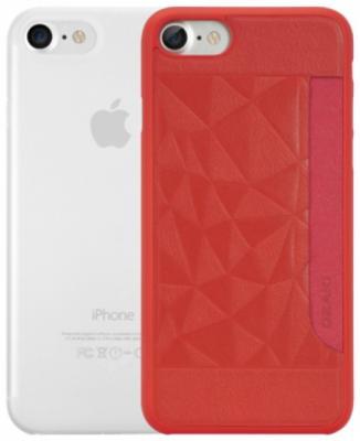 Набор чехлов Ozaki Jelly and Pocket для iPhone 7 красный прозрачный OC722RC