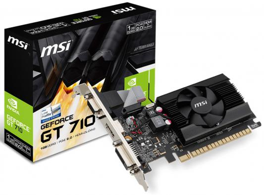 Видеокарта 1024Mb MSI GeForce GT710 PCI-E GDDR3 64bit DVI HDMI CRT HDCP GT 710 1GD3 LP Retail