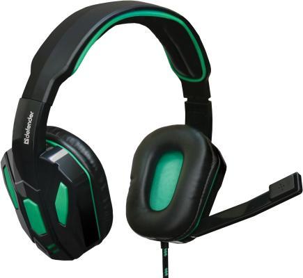Гарнитура Defender Gaming Warhead G-275 черно-зеленый 64122 стоимость