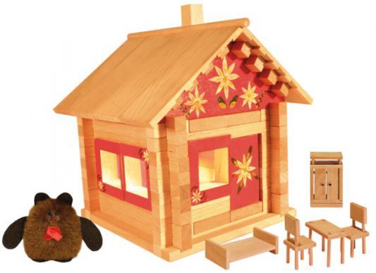 Конструктор Пелси Избушка теремок с куклами, мебелью, росписью и электропроводкой 106 элементов
