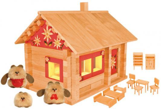 Конструктор Пелси Избушка три медведя с куклами, мебелью, росписью и электропроводкой 151 элемент К583