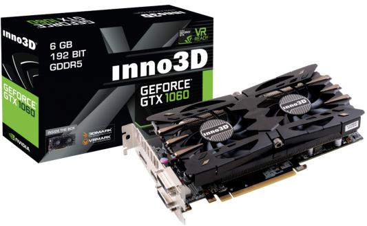 Видеокарта 6144Mb Inno3D GeForce GTX 1060 Twin X2 PCI-E 192bit GDDR5 DVI HDMI DP HDCP N106F-2SDN-N5GS Retail