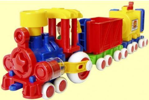 Купить Поезд Форма Ромашка разноцветный с 2 вагонами ДС С-119-ф, ФОРМА, Детские модели машинок