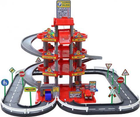 Паркинг Wader 4-уровневый с дорогой и автомобилями красный (в коробке) Wader 44723