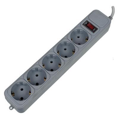 Сетевой фильтр PCPet AP01006-3-GR серый 5 розеток 3 м