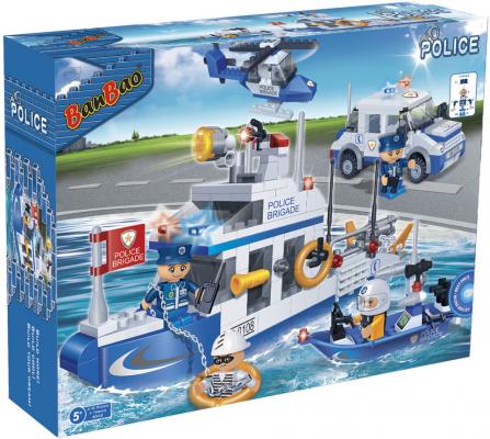 Конструктор BanBao Полицейская команда-катер, джип, лодка, вертолет 418 элементов 8342
