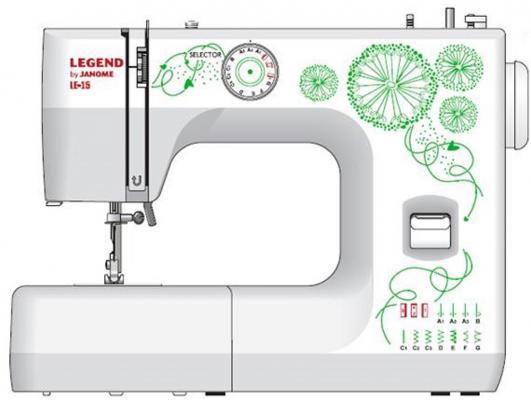 Швейная машина Janome Legend LE15 белый/рисунок швейная машинка janome legend le 25