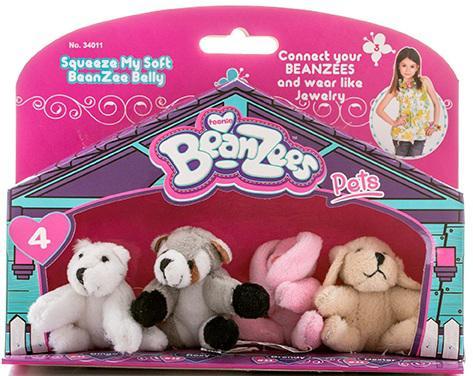 """Игровой набор Beanzeez """"Медведь, Енот, Кролик, Песик"""" 4 предмета"""