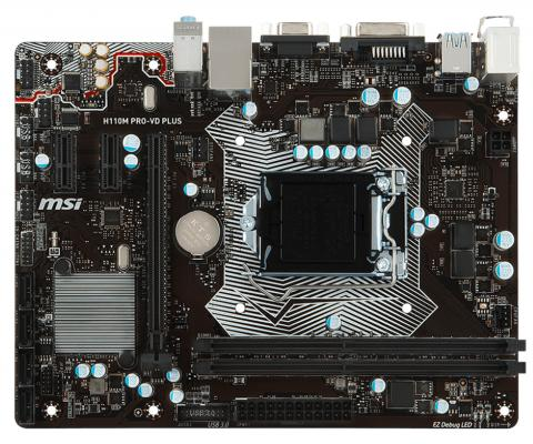 Мат. плата для ПК MSI H110M PRO-VD PLUS Socket 1151 H110 2xDDR4 1xPCI-E 16x 2xPCI 4xSATAIII mATX — msi msi b150m pro vd d3 matx