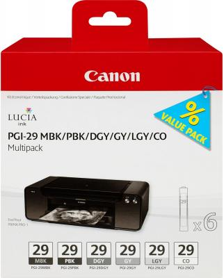 Набор картриджей Canon PGI-29 MBK/PBK/DGY/GY/LGY/CO для PRO-1 4868B018 двойная упаковка картриджей canon pgi 520bk черный [2932b012]