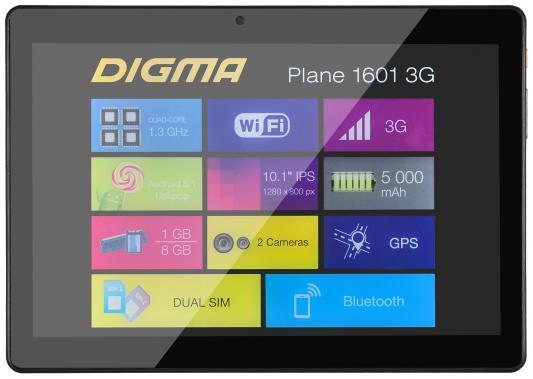 "Планшет Digma Plane 1601 3G 10.1"" 8Gb графит Wi-Fi Bluetooth 3G Android PS1060MG"