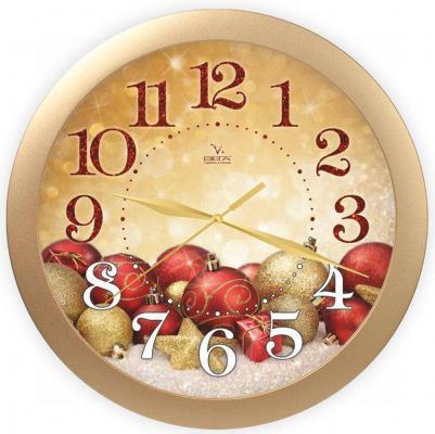 Часы настенные Вега П 1-8/7-307 золотистый рисунок красный