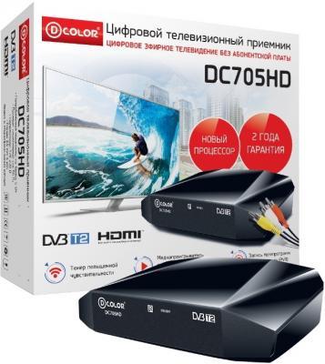 Тюнер цифровой DVB-T2 D-Color DC705HD HDMI черный