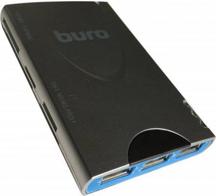 Картридер внешний Buro BU-CR/HUB3-U2.0-1012 USB2.0 серебристый картридер buro bu cr 151 черный bu cr 151
