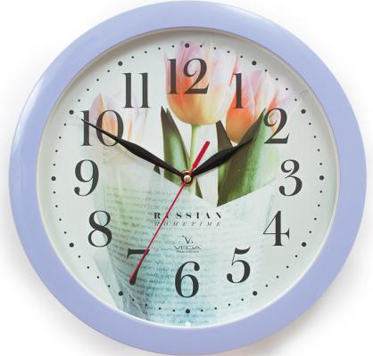 Часы настенные Вега П1-13/7-278 Сиреневые тюльпаны рисунок часы вега п 1 247 7 247 желтые тюльпаны